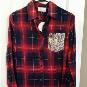 Tops - Plaid sequence button up